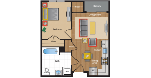 1C1 Floor Plan - one bedrrom apartment in Takoma Park with balcony
