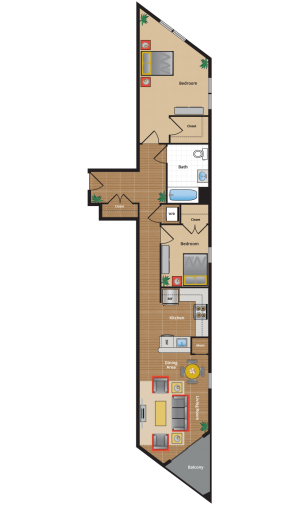 2I Floor Plan - Two Bedroom apartments in Takoma Park
