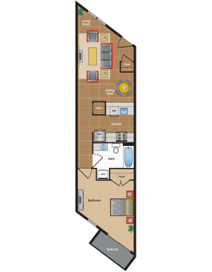 1A1 Floor Plan - large one bedroom apartments NW DC