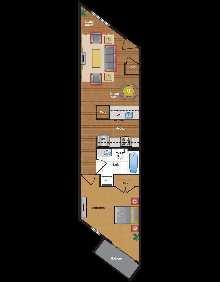 One Bedroom  One Bath View Floor Plan. Metro Village Apartments Floor Plans   Pricing