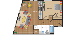 1H Floor Plan - new apartments silver spring