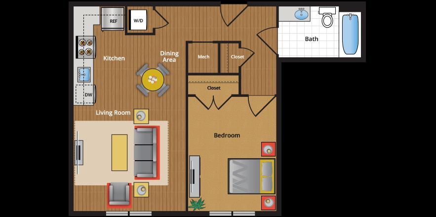 ... Floor Plan 1E Floor Plan   One Bedroom NW DC Apartments