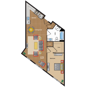 1N Floor Plan - NW DC one bedroom apartments in Takoma Park