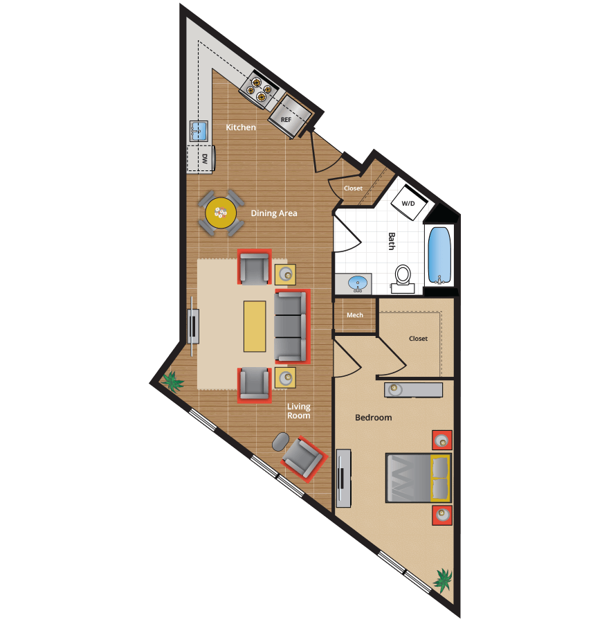 ... 1N Floor Plan   NW DC One Bedroom Apartments In Takoma Park