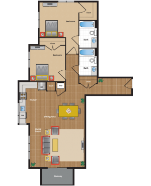 2D1 Floor Plan - silver spring apartments